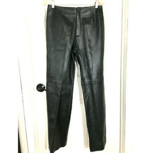 Dana Buchman Black Lambskin Leather Straight Pants
